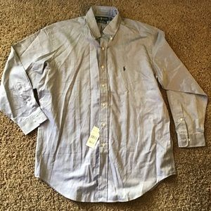 nwt RALPH LAUREN blue herringbone dress shirt 16.5